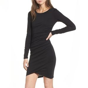 Leith sz SMALL Ruched Long Sleeve Dress in Black